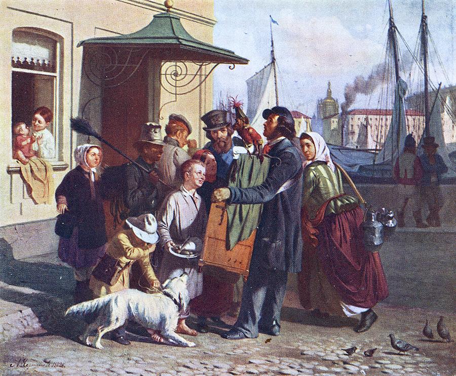 Positivspiller i Saint-Pétersbourg 1852 spiller klassisk musik på lirekasse.
