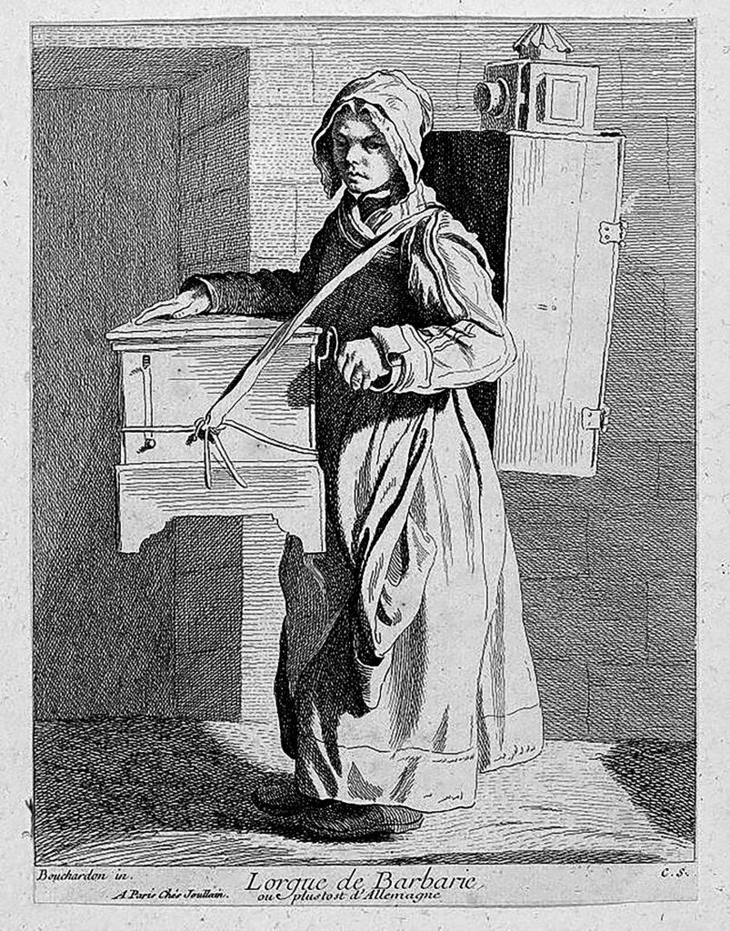 Lirekassen historisk set. La Orgue de Barbarie, her båret af en lirekassekone i 1700-tallet.