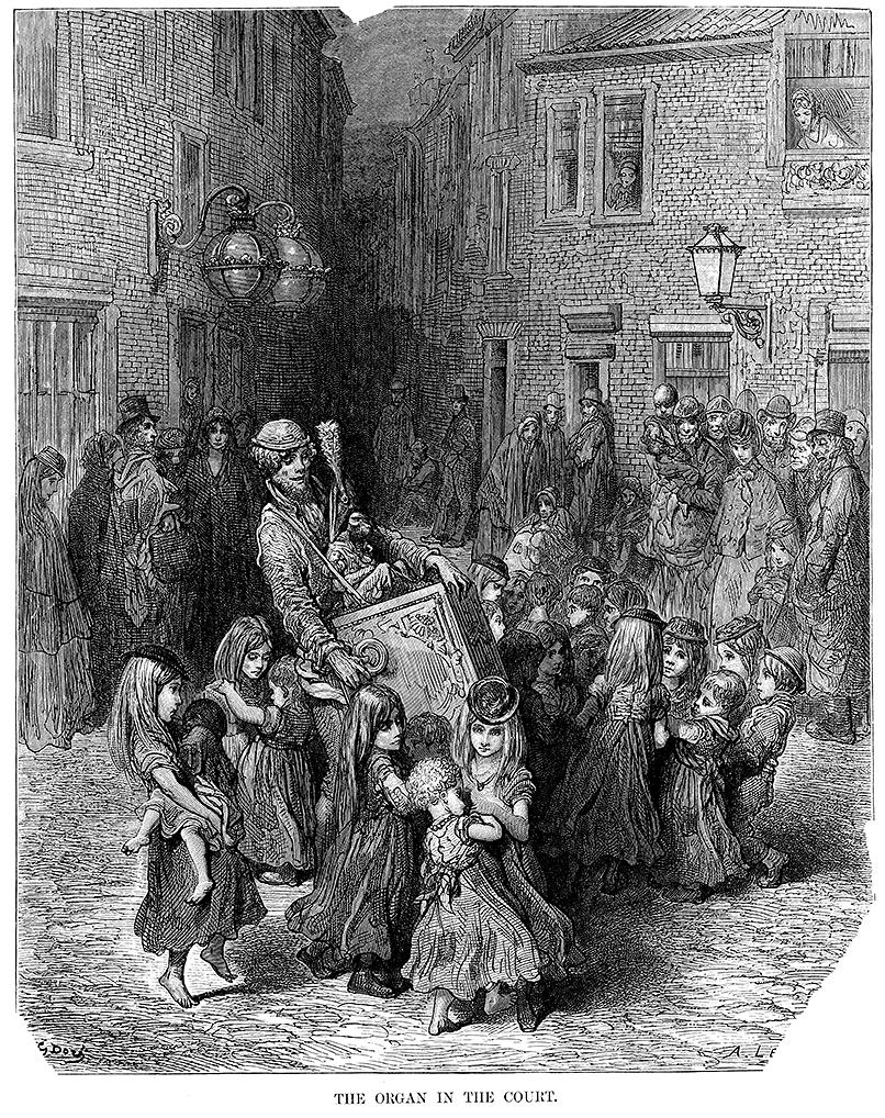 Til historien om lirekassemændende hører denne sigøjner og lirekassemand fra London, 1872.