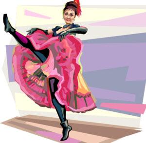 Cancan var en populær dans i Paris i 1800-tallet. Ikke mindst fordi pigerne dengang ikke brugte underbukser under kjolen.