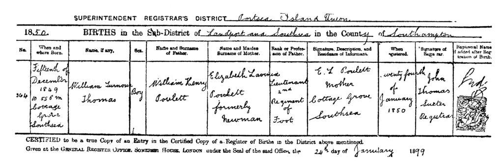 Beviset for Den Ædle Lirekassemand, William Turnour Thomas Pouletts ret til at arve både adelstitel og det fornemme engelske gods Hinton, skal findes i dette fødselsregister. Her er hans far opgivet som løjtnant ved 2. fodregiment, William Henry Poulett.